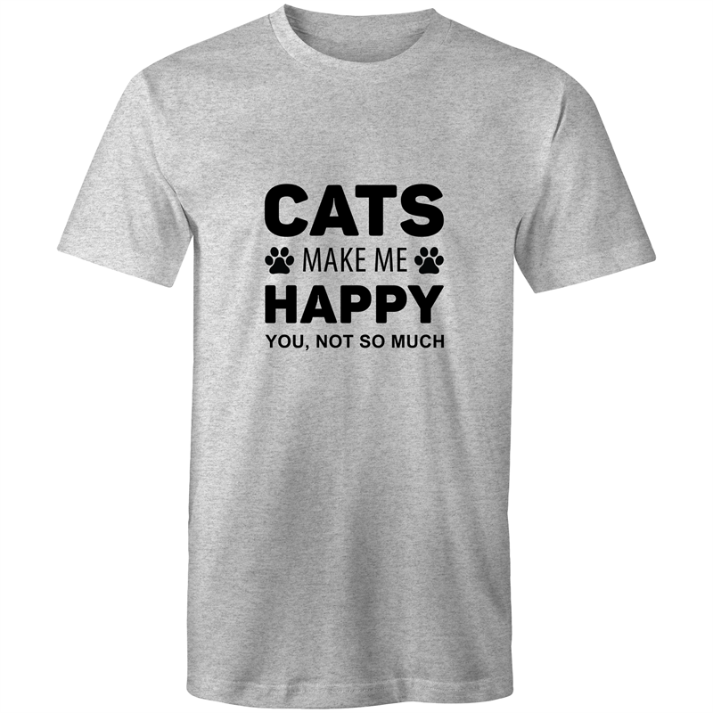 Colour Staple T-Shirt – Cats make me happy - black text - Mens
