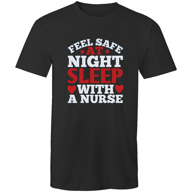 Colour Staple T-Shirt – Nurse - Feel safe at night - White text - Mens