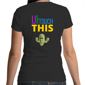 Bevel V-Neck T-Shirt - U can't touch this - Cactus – Women's