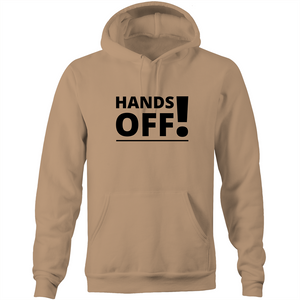 Pocket Hoodie Sweatshirt - Hands Off – Black Text – Unisex