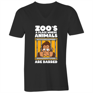 V-Neck Tee - T-Shirt - Zoos a place where animals are barred - White Text - Mens
