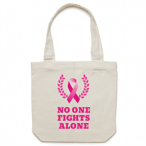 Canvas Tote Bag - No one fights alone – Carrie
