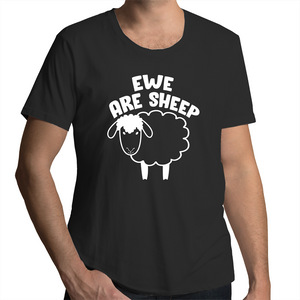 Scoop Neck T-Shirt - Ewe Are Sheep - White Text - Mens