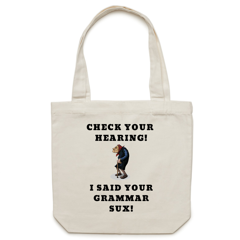 Canvas Tote Bag - Check your hearing – Carrie