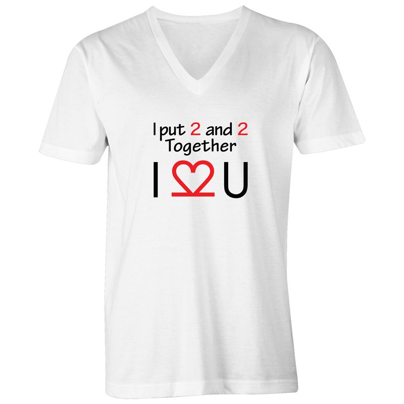 V-Neck Tee T-Shirt - I Love You - Black Text - Mens
