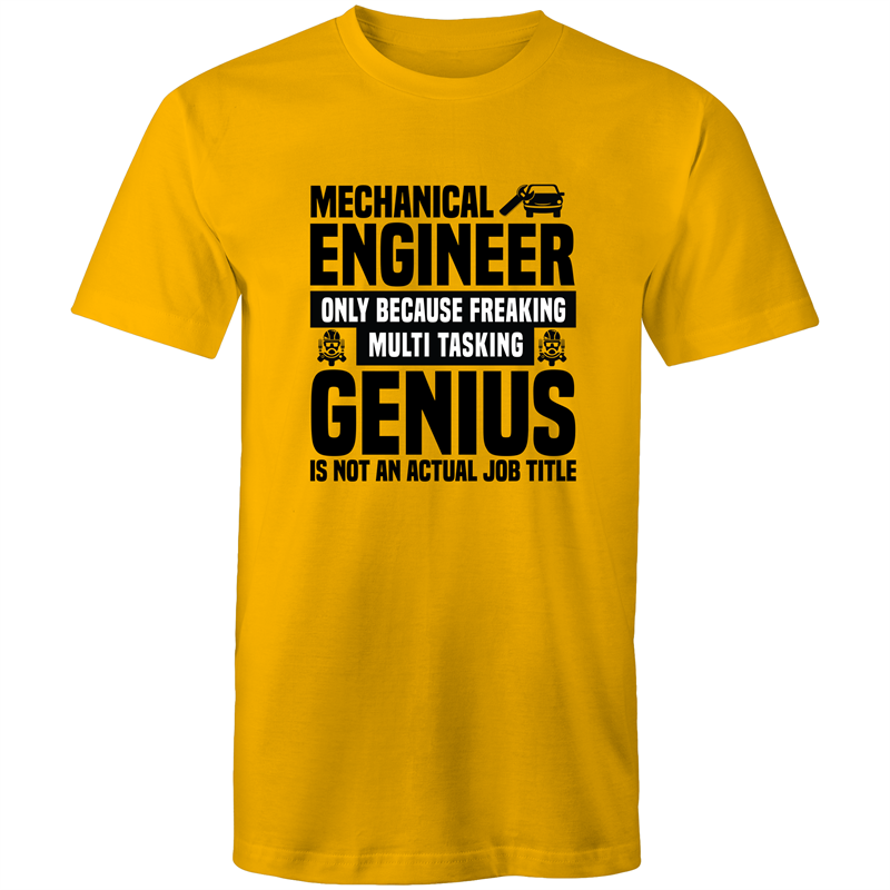 Colour Staple T-Shirt – Mechanical Engineer Genius - black text - Mens