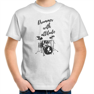Sportage Surf - Drummer with attitude - Black Text - Kids Youth T-Shirt