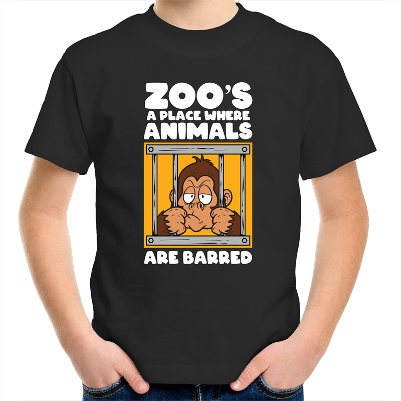 Sportage Surf - Zoos a place where animals are barred - White Text - Kids Youth T-Shirt