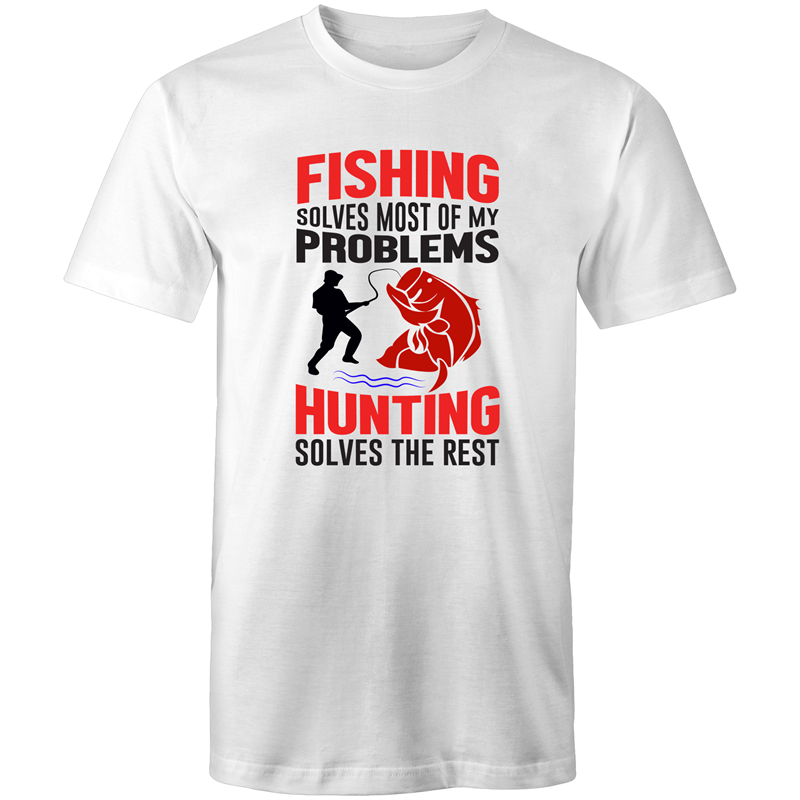 Colour Staple T-Shirt – Fishing solves most of my problems - black text - Mens