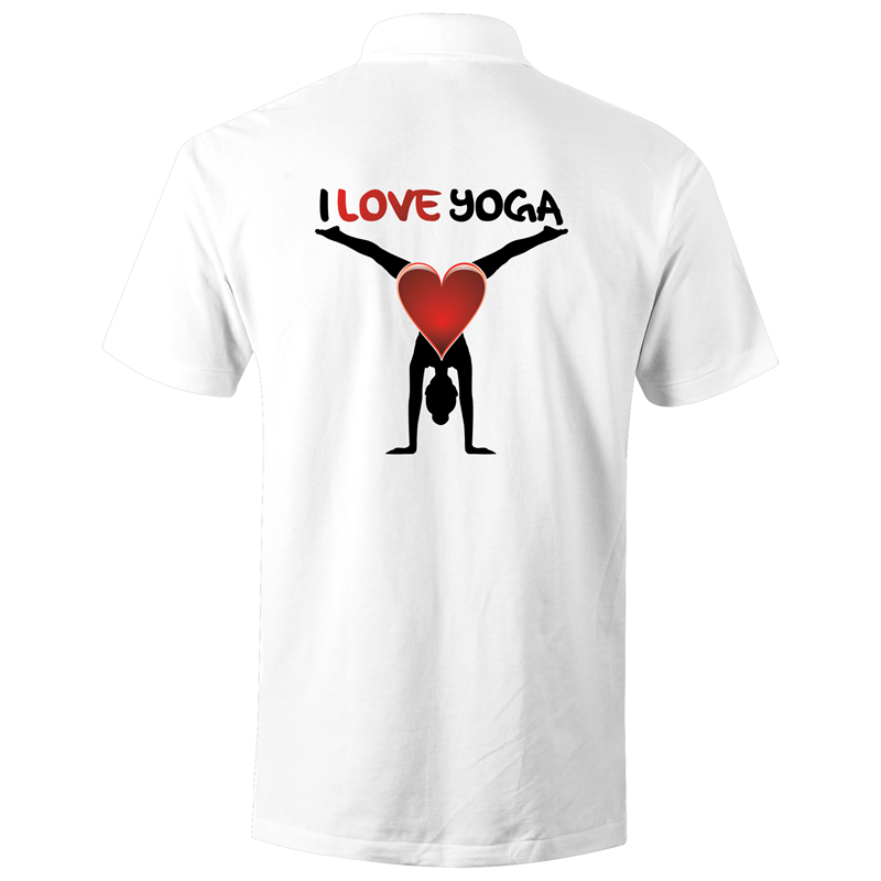 Polo Shirt - I love yoga - Black text - AS Colour Chad