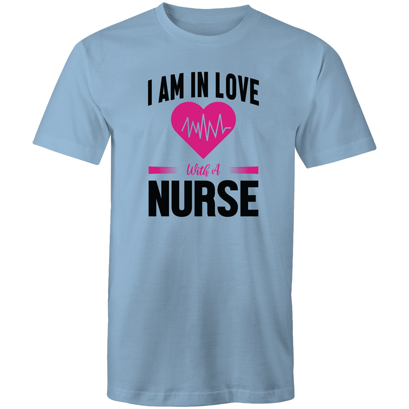 Colour Staple T-Shirt – I am in love with a nurse - black text - Mens