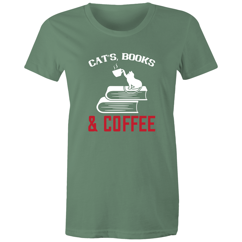 Maple Tee – Cats books and coffee - White Text - Women's