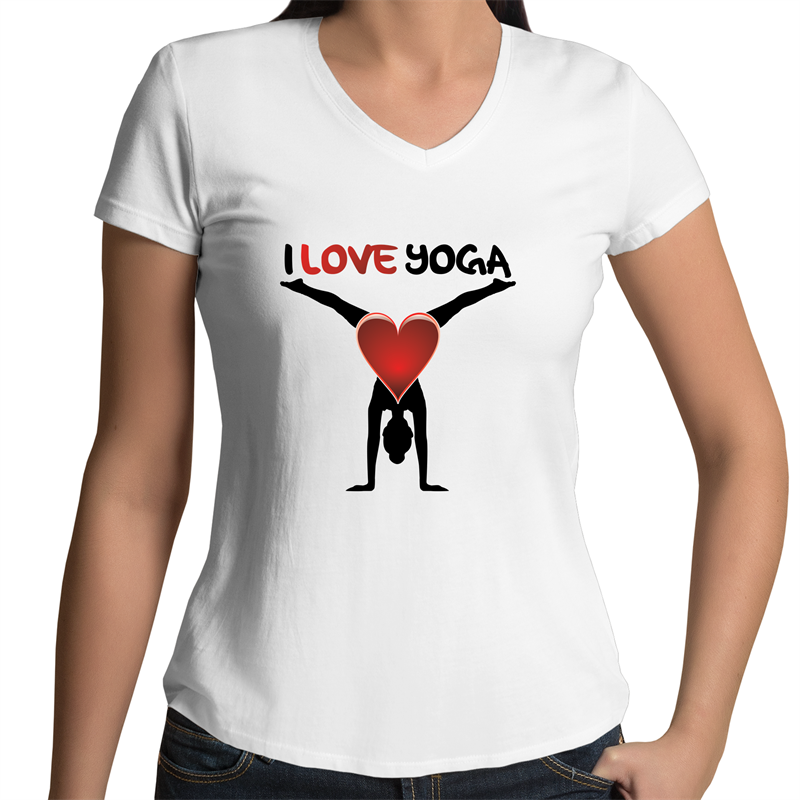 Bevel V-Neck T-Shirt - I Love Yoga - Black Text - Women's