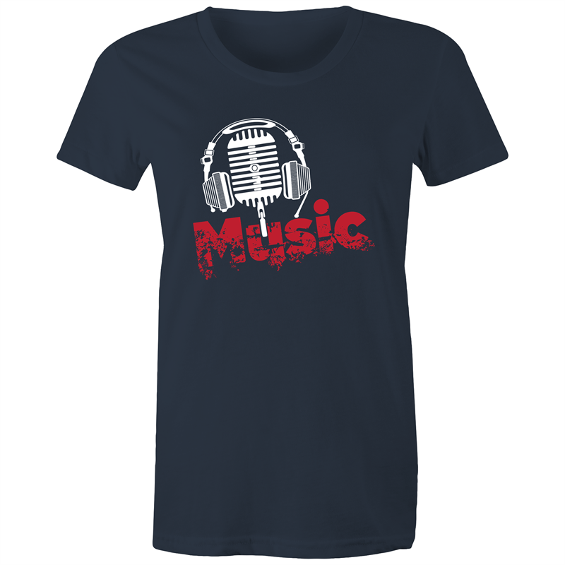 Maple Tee – Music - White Text - Women's