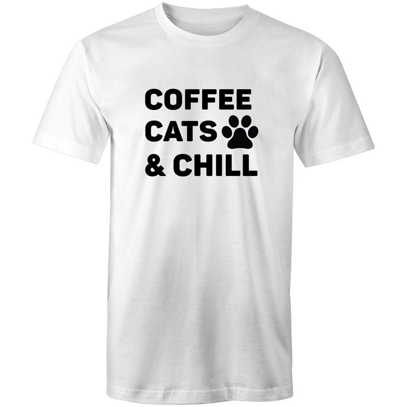 Colour Staple T-Shirt – Coffee cats and chill - black text - Mens