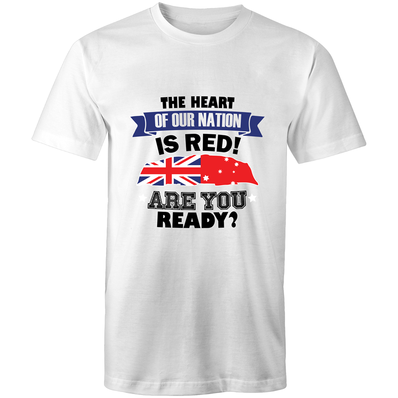 Colour Staple T-Shirt – The heart of our nation - Black text - Mens