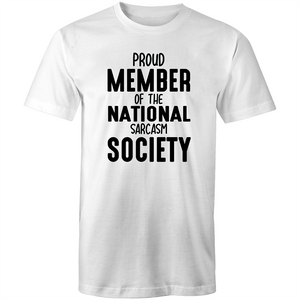 Colour Staple T-Shirt – National sarcasm society - black text - Mens