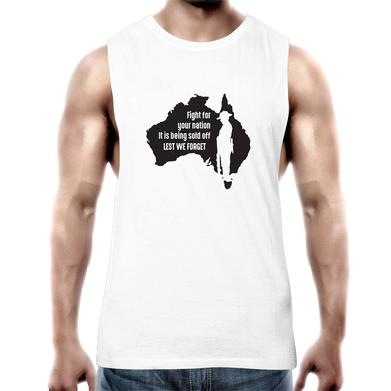 Tank Top Tee – Lest we forget - white text – Mens