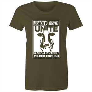 Maple Tee - Racism has been milked enough - white text - Women's
