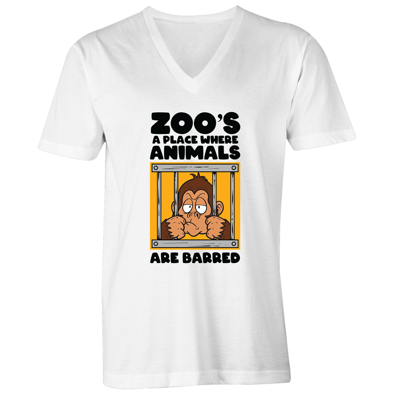 V-Neck Tee - T-Shirt - Zoos a place where animals are barred - Black Text - Mens