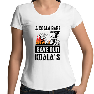 Scoop Neck T-Shirt - A Koala Bare - Black Text - Women's