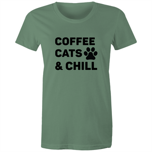 Maple Tee – Coffee cats and chill – Black Text - Women's