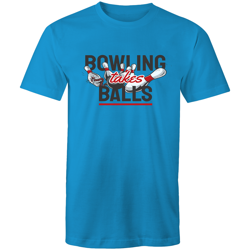 Colour Staple T-Shirt – Bowling takes balls - black text - Mens