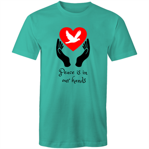 Colour Staple T-Shirt – Peace is in our hands - Mens