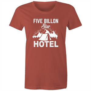 Maple Tee – Five billion star hotel - White Text - Women's