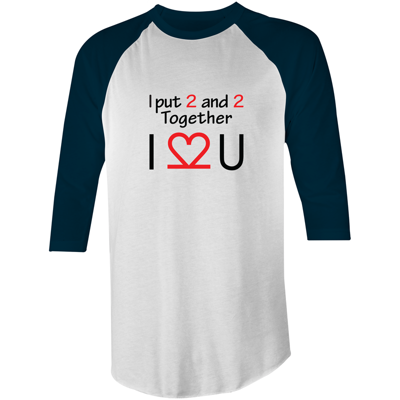3/4 Sleeve - I Love You - Black Text – Mens