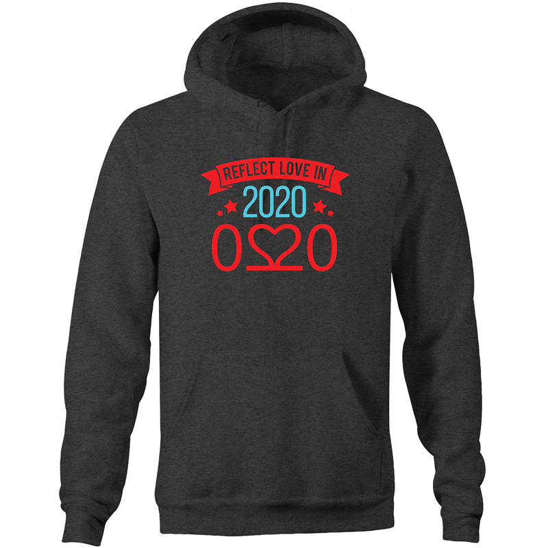 Pocket Hoodie Sweatshirt - Reflect love in 2020 - Darker colours - Mens