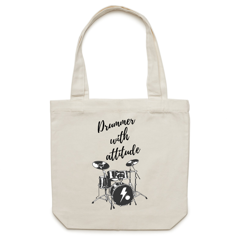Canvas Tote Bag - Drummer with attitude – Carrie