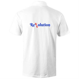 Polo Shirt - Revolution VS Resolution - White text - AS Colour Chad