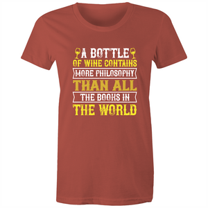 Maple Tee – A bottle of wine contains more philosophy - White Text - Women's