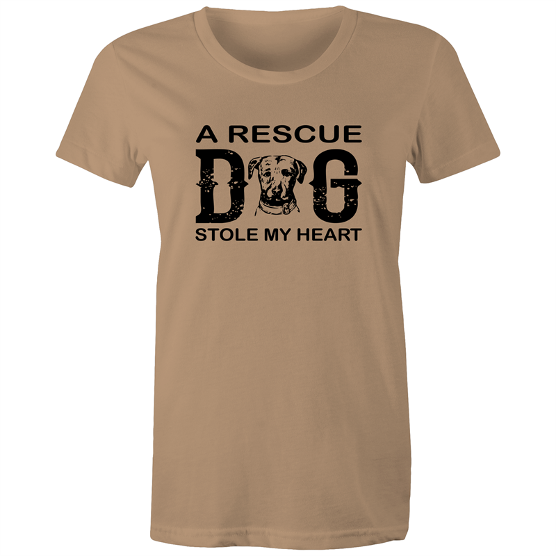Maple Tee – A rescue dog stole my heart – Black Text - Women's