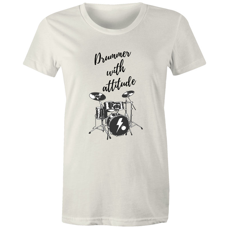 Maple Tee – Drummer with attitude – Black Text - Women's