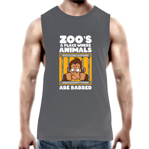Tank Top Tee - Zoos a place animals are barred - white text - Mens