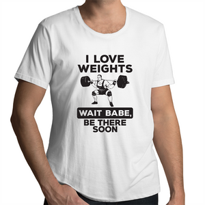 Scoop Neck T-Shirt - I Love Weights - Black Text - Mens