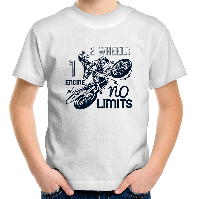 Sportage Surf - 1 engine 2 wheels no limits - Black Text - Kids Youth T-Shirt