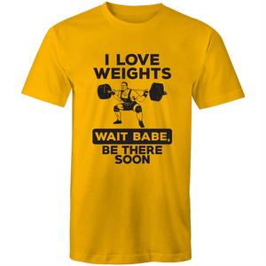 Colour Staple T-Shirt – I Love Weights - Black text - Mens