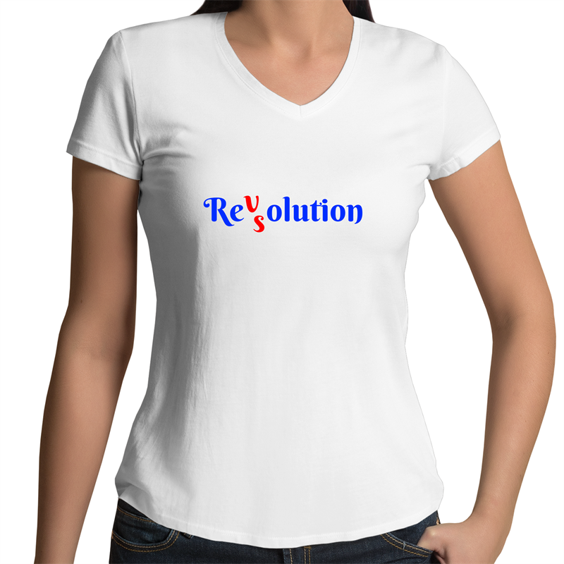 Bevel V-Neck T-Shirt - Revolution VS Resolution - Women's