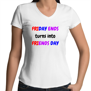 Bevel V-Neck T-Shirt - Friends Day - Women's