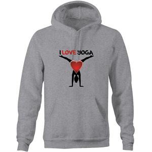 Pocket Hoodie Sweatshirt - I love yoga - Black Text - Unisex