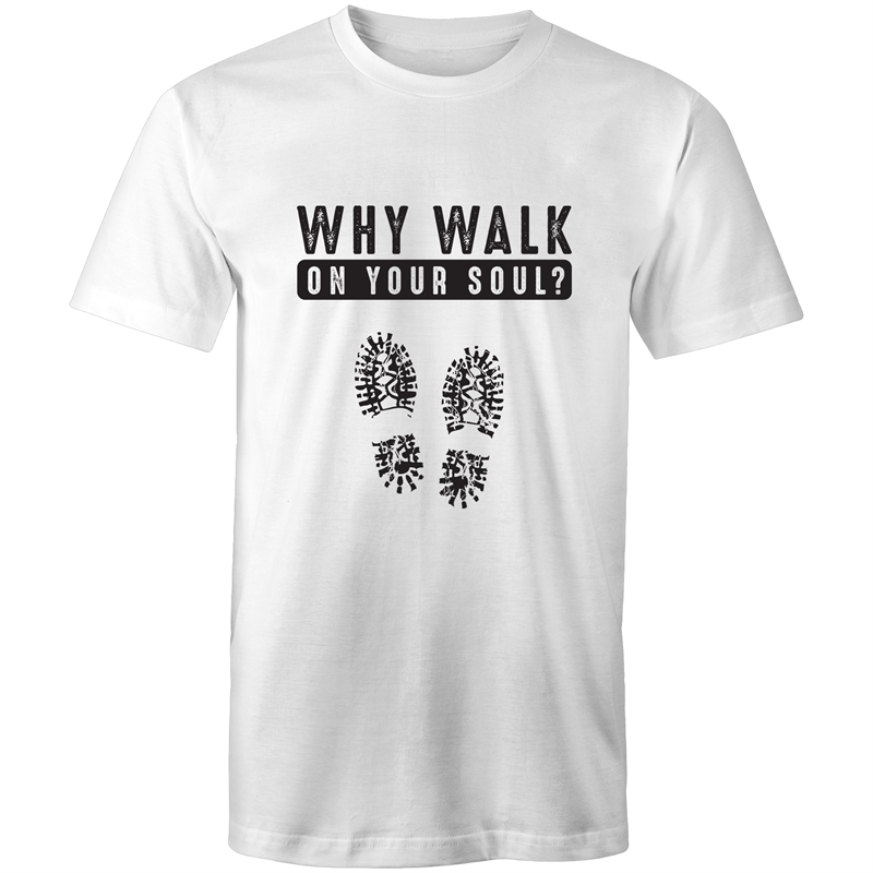 Colour Staple T-Shirt – Why walk on your sole - black text - Mens