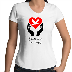 Bevel V-Neck T-Shirt - Peace is in our hands – Women's