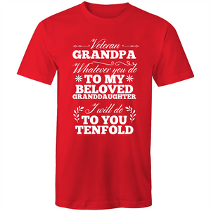 Colour Staple T-Shirt – Veteran Grandpa– white text - Mens