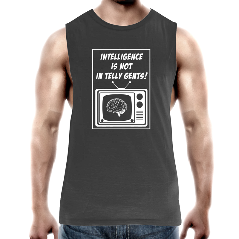 Tank Top Tee – Intelligence - white text – Mens