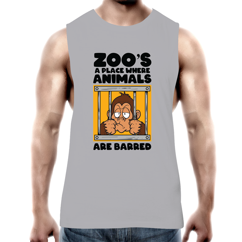 Tank Top Tee - Zoo's a place where animals are barred - Black text - Mens