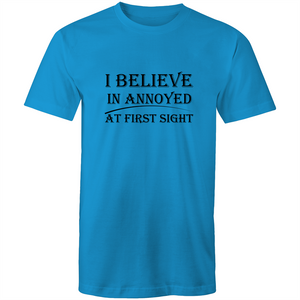 Colour Staple T-Shirt – I believe in annoyed at first sight - black text - Mens