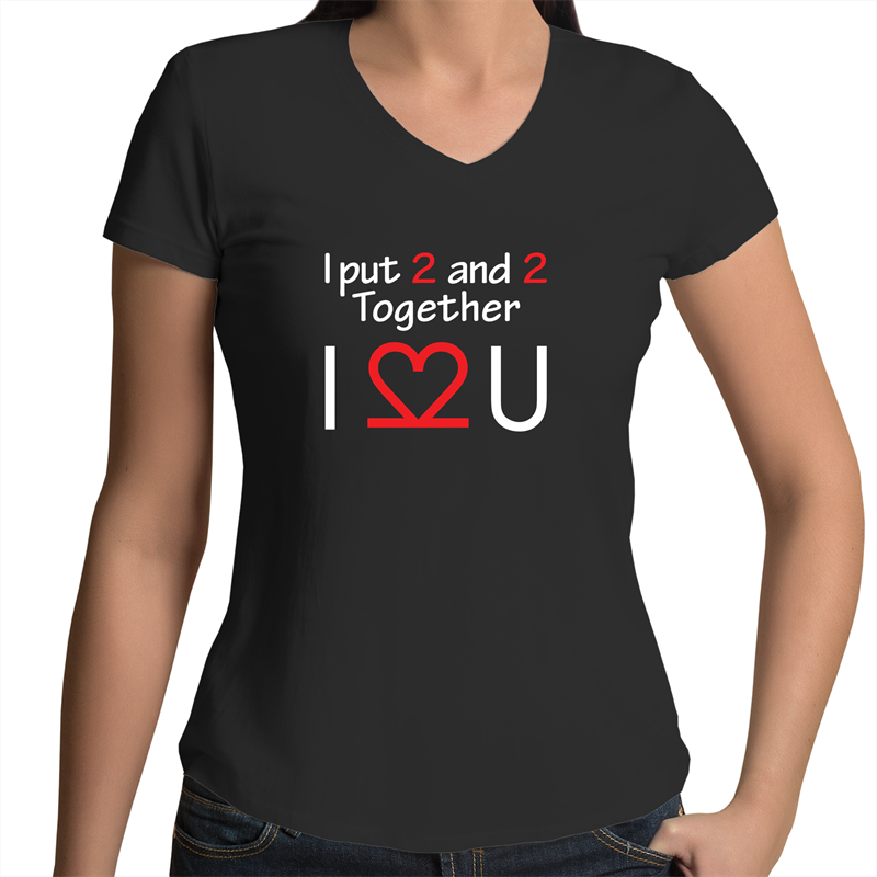Bevel V-Neck T-Shirt - I Love You – White Text – Women's